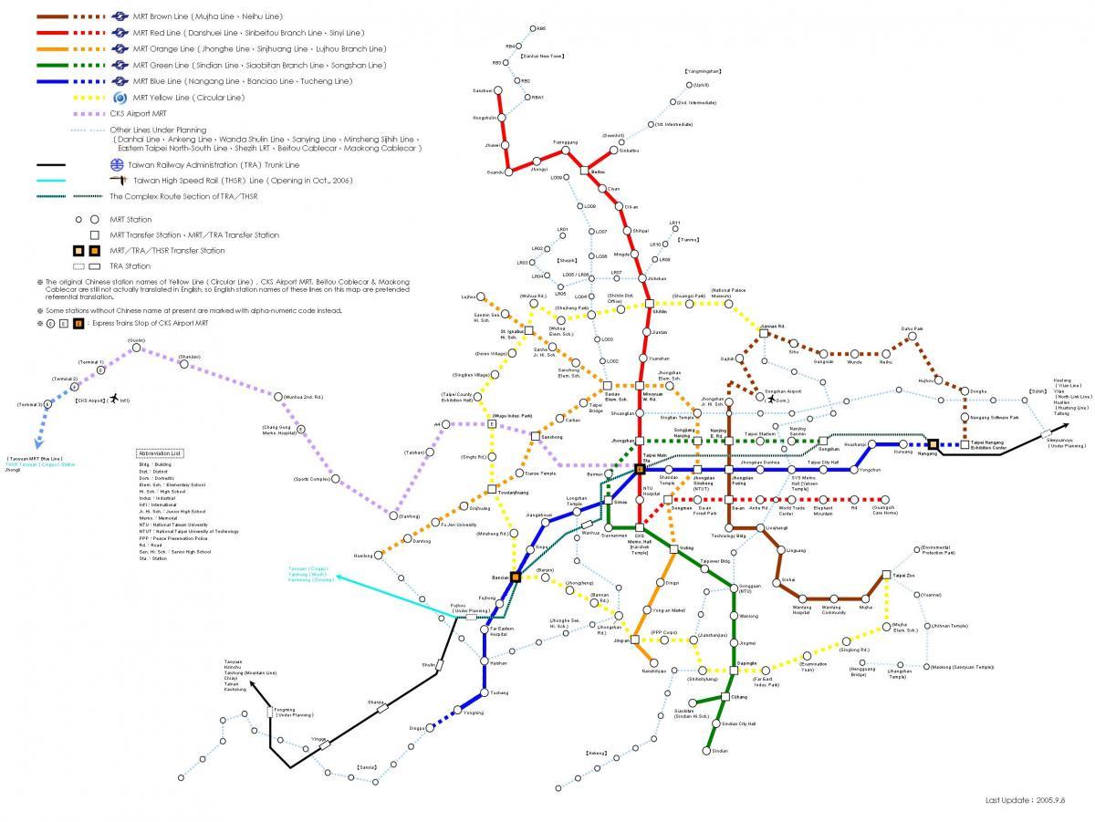 Taipei train map - Taipei railway map (Taiwan)